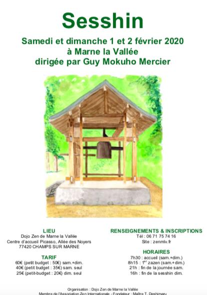Sesshin à Marne la Vallée 1-2 fév 2020